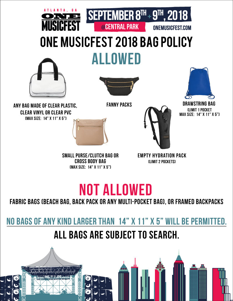 ONE Musicfest Bag Policy